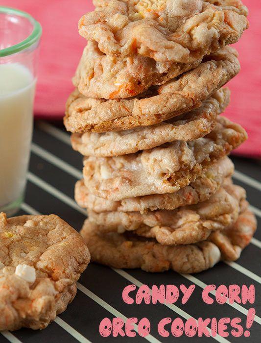 Candy Corn Oreo White Chocolate Chip Cookies