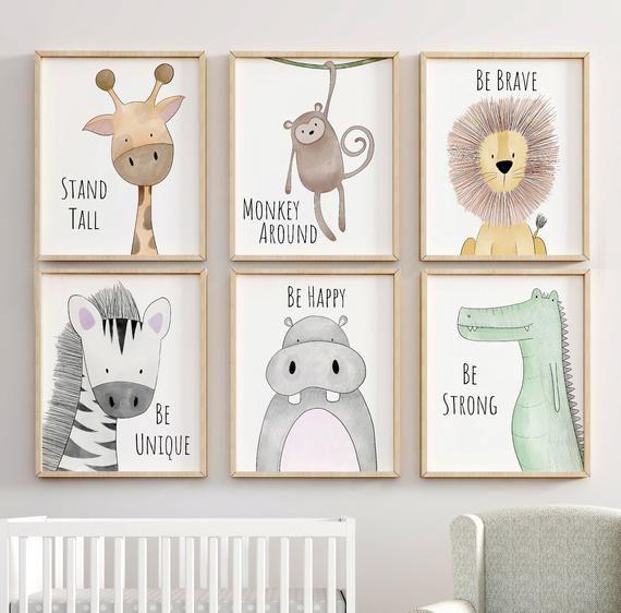 Dschungel Kinderzimmer Dekor, Animal Nursery Prints, zitieren Kindergarten Print, Peekaboo Kindergarten, Dschungeltier, Jungle Nursery, neutrale Kindergarten Prints – #Animal #D …