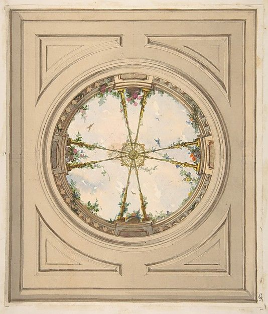 Design for a ceiling painted with clouds and trellis work