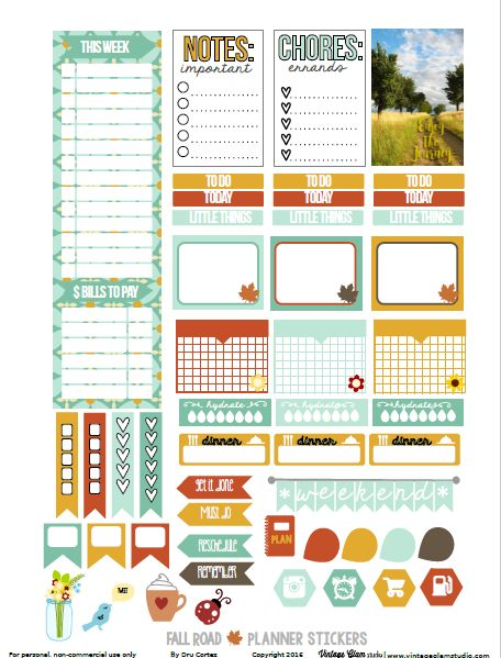 Free Printable Fall Road Planner Stickers {page one} | from Vintage Glam Studio