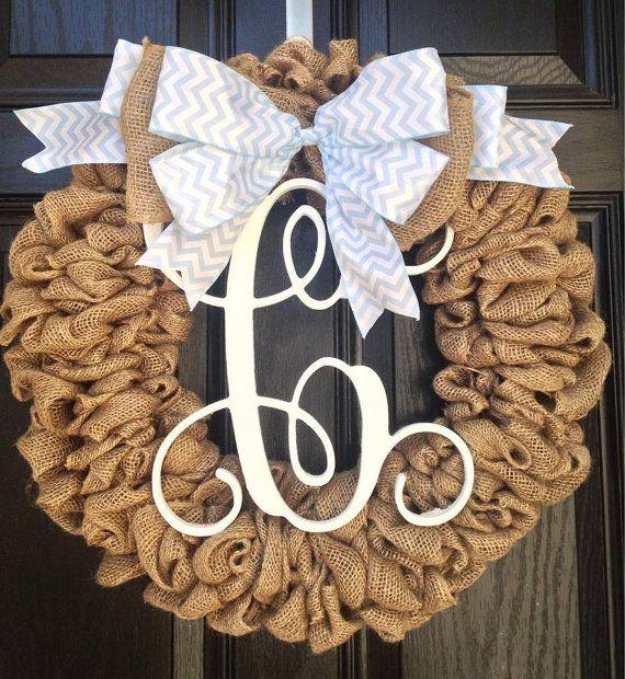Burlap wreath // Year round wreath // vine monogram burlap wreath // light blue and white chevron bow // it's a boy wreath / on Etsy, $85.00