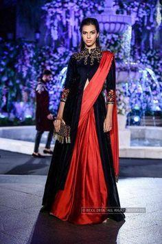 Model walks the ramp for Manish Malhotra on Day 2 of the Lakme Fashion Week Winter/Festive 2016 held in Mumbai