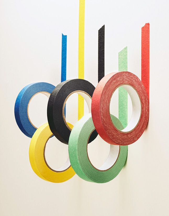 Make an Olympic Rings wall installation for your viewing party with this easy DIY masking tape installation hack.