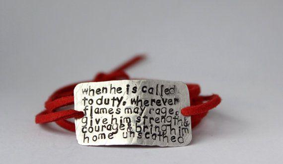 firefighter wife bracelet, firefighter girlfriend jewelry, firefighter jewelry, firefighter prayer, firefighter mom, handstamped,