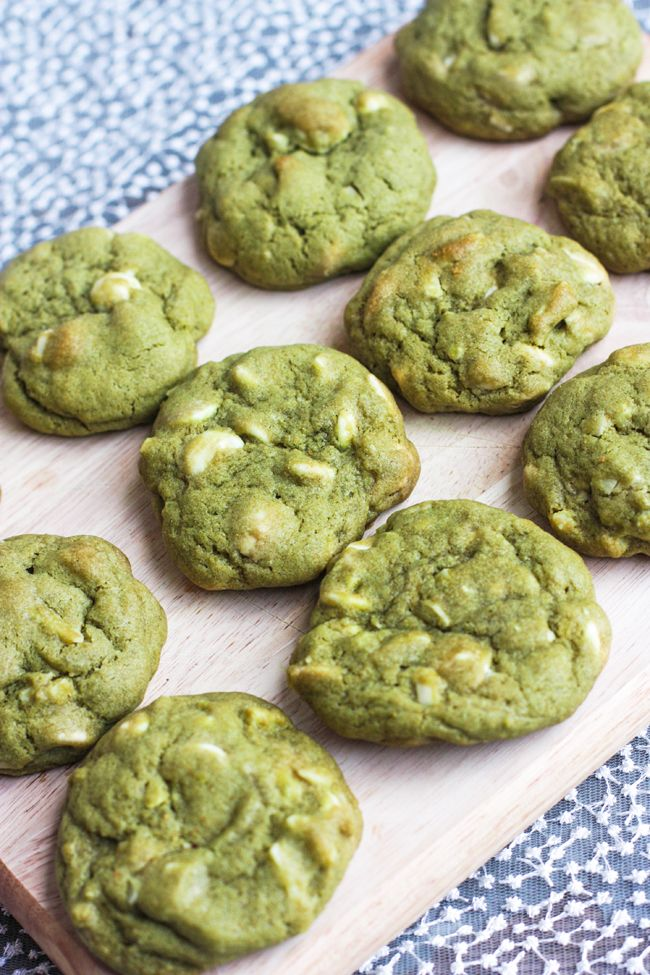 White Chocolate Chip and Almond Matcha Cookies