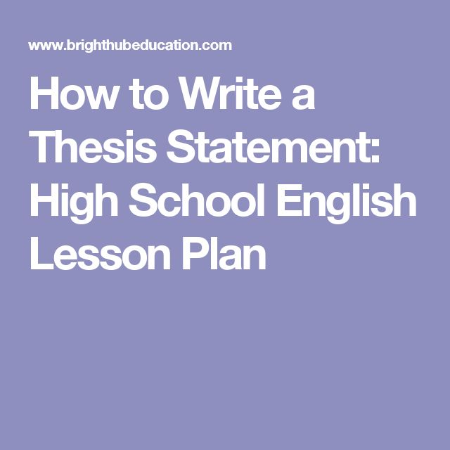 lesson plans on thesis statements