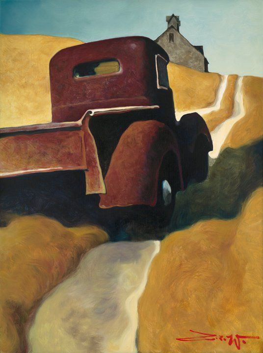 Z.Z.Wei: title unknown [old pickup truck uphill to barn], medium unknown. Contemporary Realism.