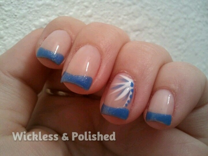 Periwinkle blue french tips with @French Tip Dip