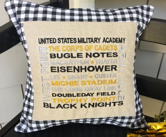 "Go Army Pillow Cover 14"" Black Gold White West Point USMA United States Military Academy BEAT NAVY!"