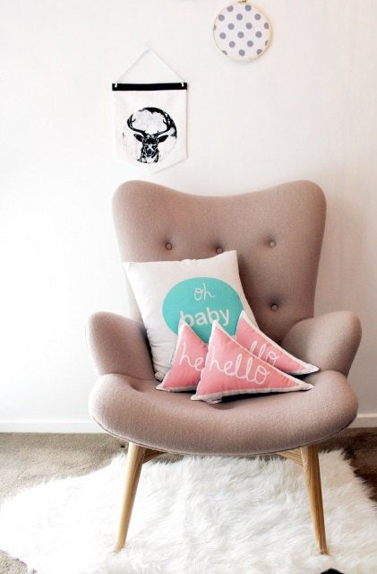 Hello triangle cushion in salmon by BettyandMoose on Etsy