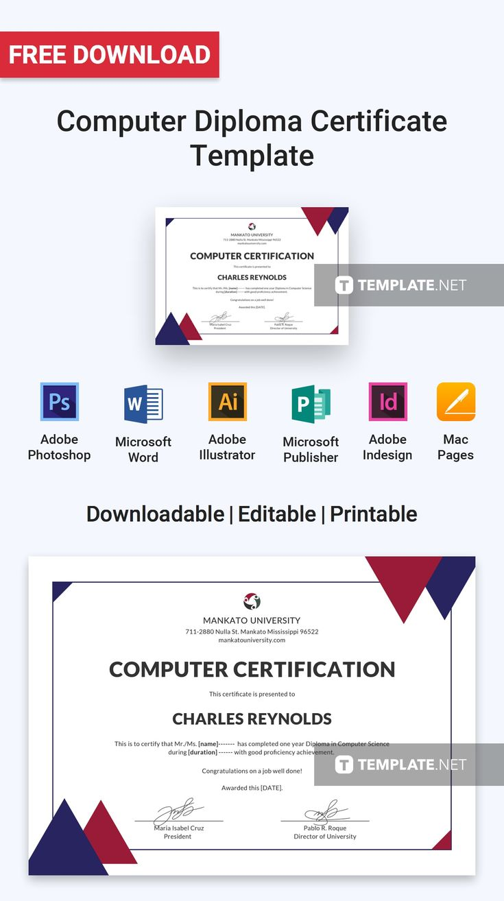 download free computer diploma certificate template professionally designed certificates to download customize print