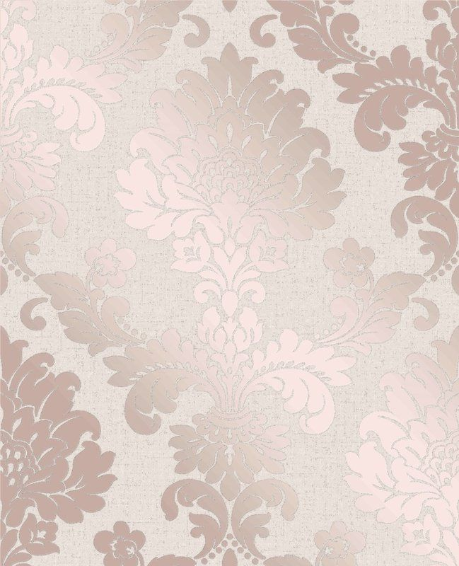 Fine Decor Quartz Rose Gold Glitter Damask Textured Feature Wallpaper FD42204