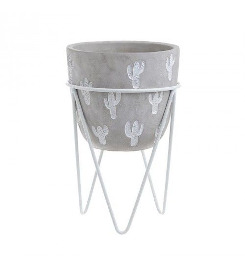 SET OF CEMENT FLOWER POT AND METALLIC BASE GREY_WHITE D16X25
