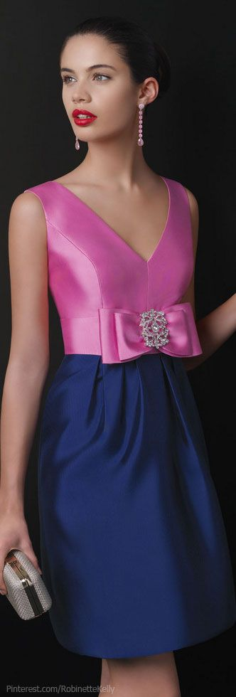 Rosa Clara ~ Pink + Royal Blue Short Cocktail Dress w Crystal Bow Detail 2013