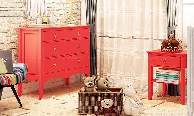 Quarto Infantil Completo com Berço, Criado-mudo, Cômoda e Poltrona Branco/Vermelho/Listrado/Colorido - Caaza   Lojas KD