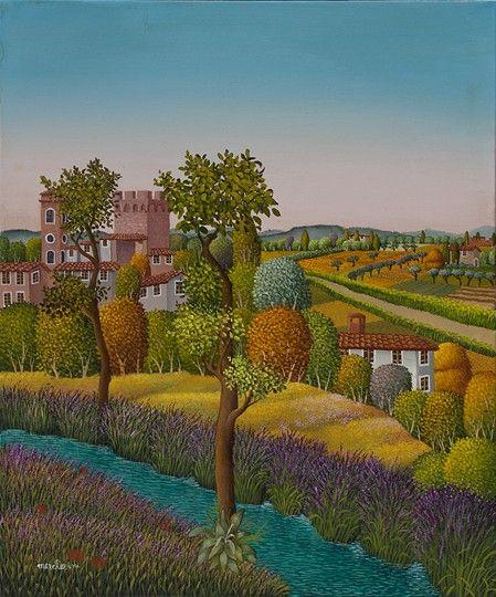 Castello sul fiume by Cesare Marchesini of Italy