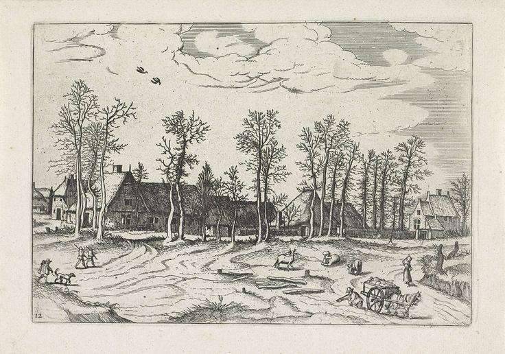 Johannes of Lucas van Doetechum | Landschap met boerderijen, vee en mensen, Johannes of Lucas van Doetechum, Meester van de Kleine Landschappen, Joannes Galle, 1559 - 1561 | Landschap met boerderijen. Op de voorgrond mensen en vee.