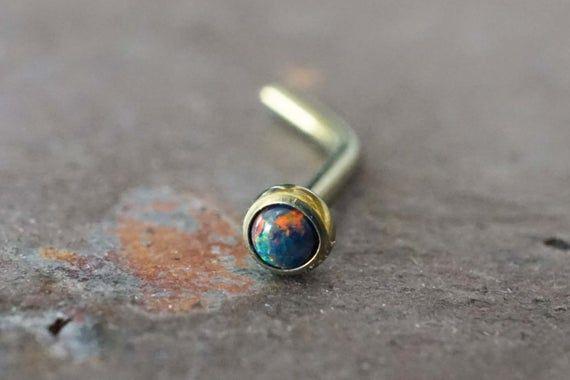 18g Pink Fire Opal Nose Ring Opal Nose Screw