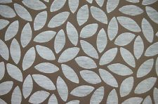 P/M Romo Floris Alpine Blue Leaves Modern Chenille Upholstery Curtain Fabric