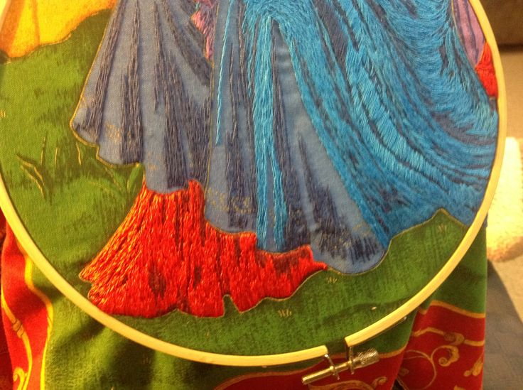 This is a picture of a wall hanging I embroidered. I find a panel with a scene that inspires me, then I embroider that scene. This wall hanging took me many many months to do. It is my passion.