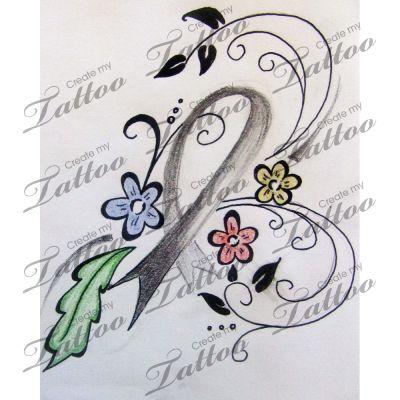 brain cancer tattoo | floral #6992 | CreateMyTattoo.com