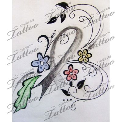 brain cancer tattoo | floral #6992 | CreateMyTattoo.com