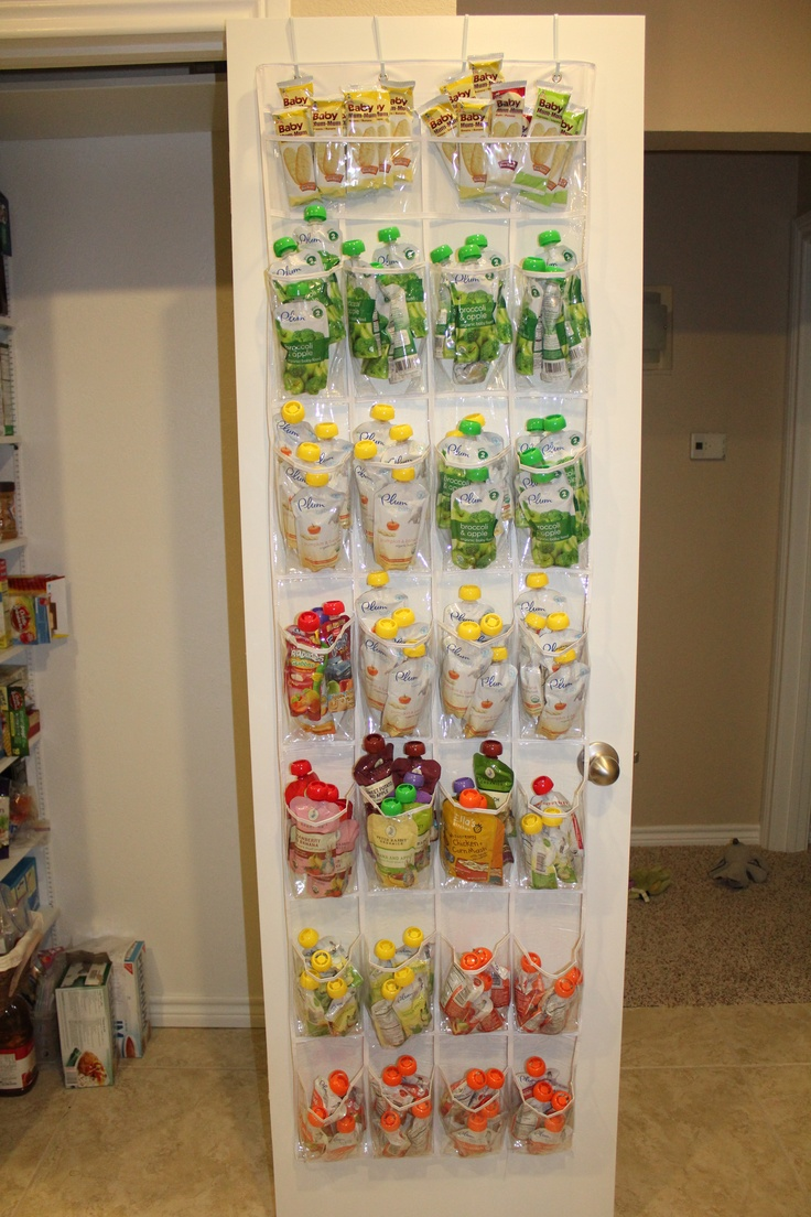 Store Baby Food Bags With An Over The Door Shoe Organizer (Good Idea!