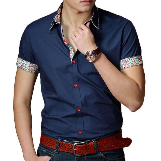 Venta al por mayor del verano nuevo desgaste de la mezclilla hombres de manga corta camisa de algodón delgado Casual para hombre agente