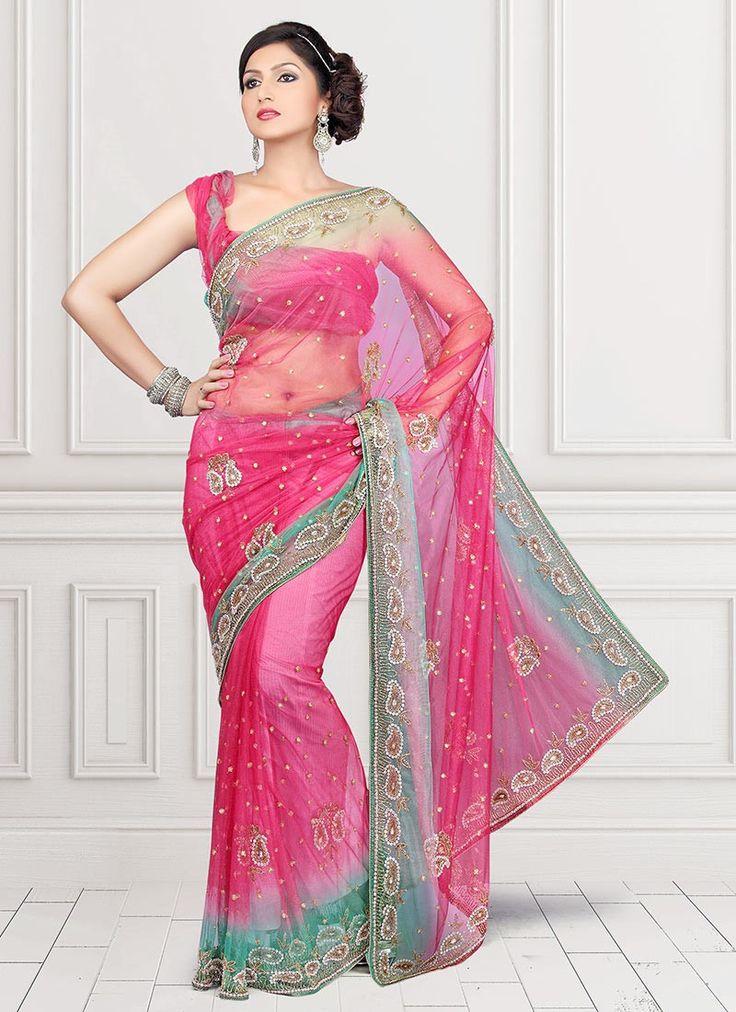 Saree Market: Net Saree Magenta Colour