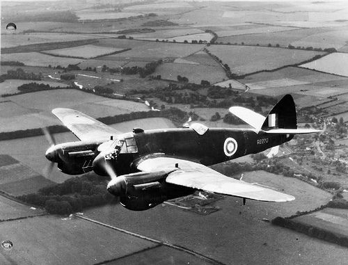 Beaufighter Mark IIF night fighter, R2270.  The first production Beaufighter Mark IIF night fighter, R2270, fitted with dihedral tailplanes and equipped with AI Mark IV radar, in flight. This aircraft served with No. 406 Squadron RCAF.  as in this photo some were fitted with Merlins engines.