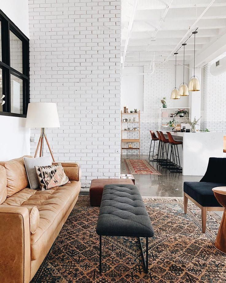 Warm And Rustic Modern Living Room With Modern Leather Sofa Studio Mcgee Neutral Livi In 2020 Living Room Scandinavian Modern Rustic Living Room Farm House Living Room #warm #neutral #living #room