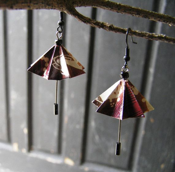 Origami Umbrella Earrings - Spring will soon be here! on Etsy, $16.00