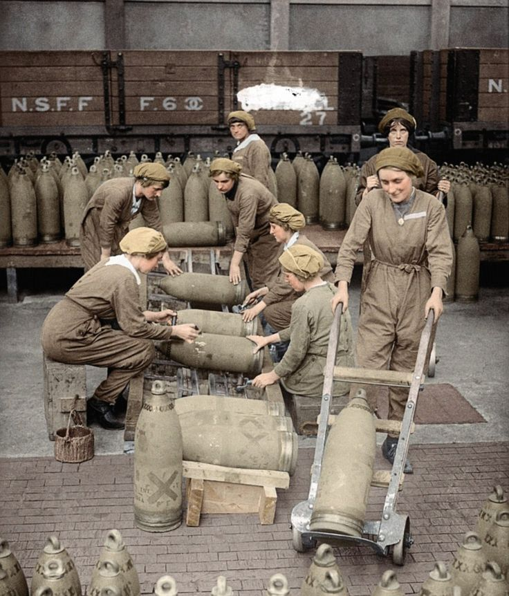 Before disaster struck: Women workers stack live shells destined for the trenches at the huge munitions factory at Chilwell in Nottinghamshire in 1917. A few months later, on 1 July, 1918, 250 workers were killed when eight tons of TNT explosive at the factory blew up. Only 32 bodies could be positively identified