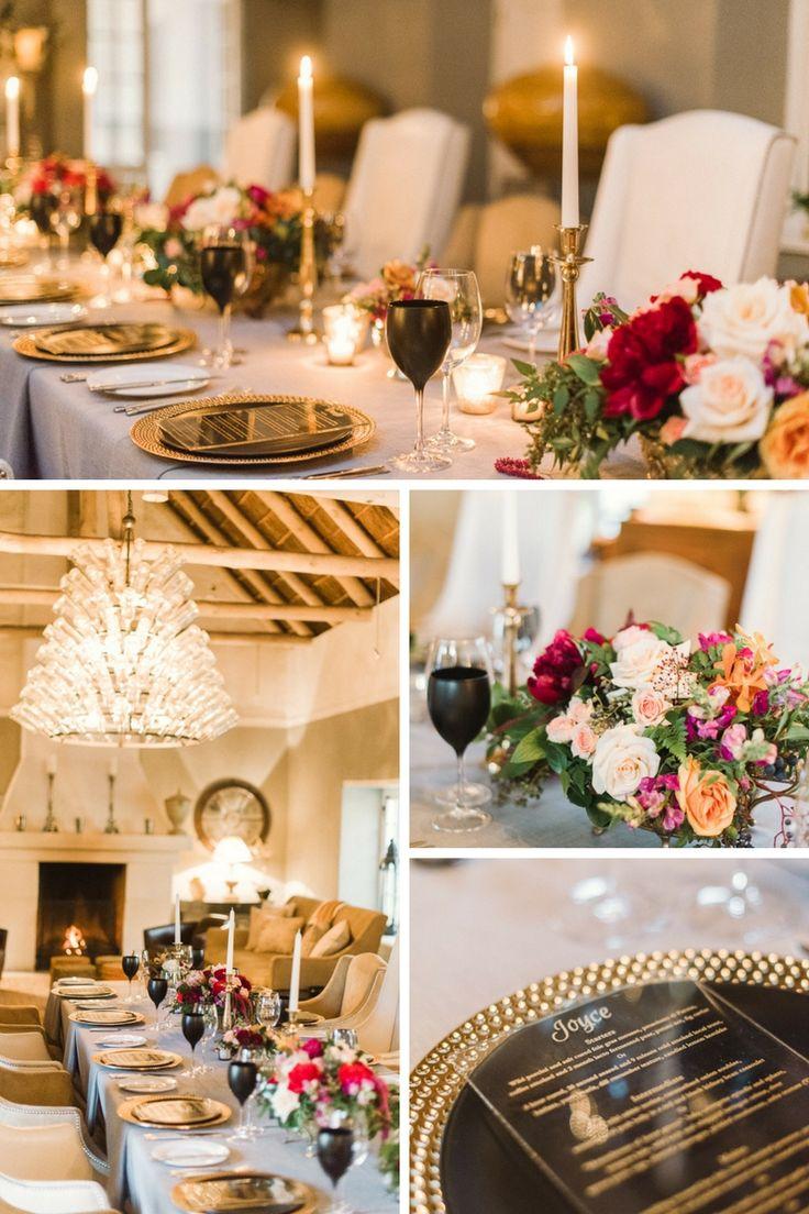 Elegant and luxurious 40th birthday celebration at Grande Provence, Franschoek. Flowers by @greengoddessza Photos by @dehanengelbrecht