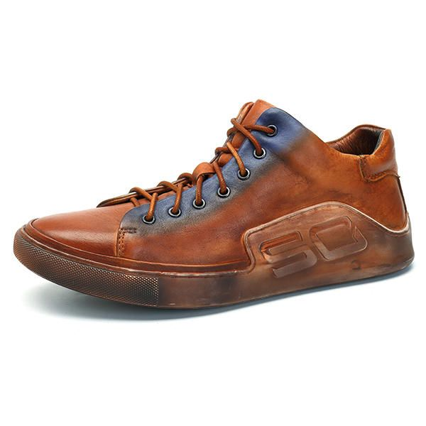 US Size6.5-11 Men Casual Genuine Leather Comfy Lace Up High Top Sneakers Shoes - US$67.84  #men #shoes #fashion