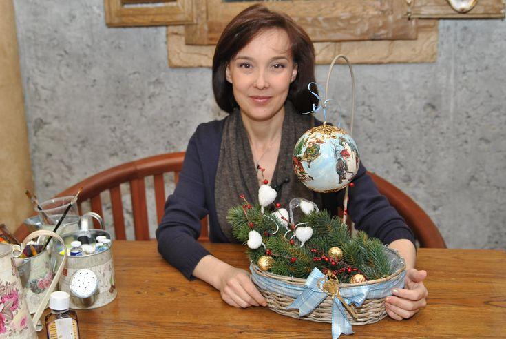 Шар новогодний с объёмным контуром, декупаж, золочение, патинирование
