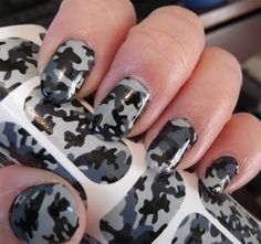 GREY CAMO Nail Art Decals (CM1) Camouflage Nails