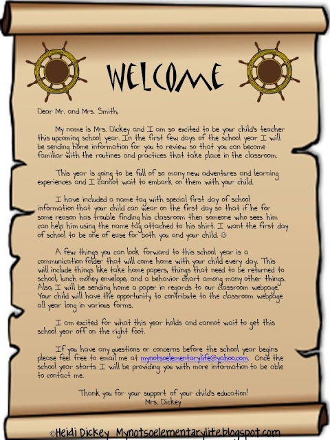 a letter to the parents and kids before the start of