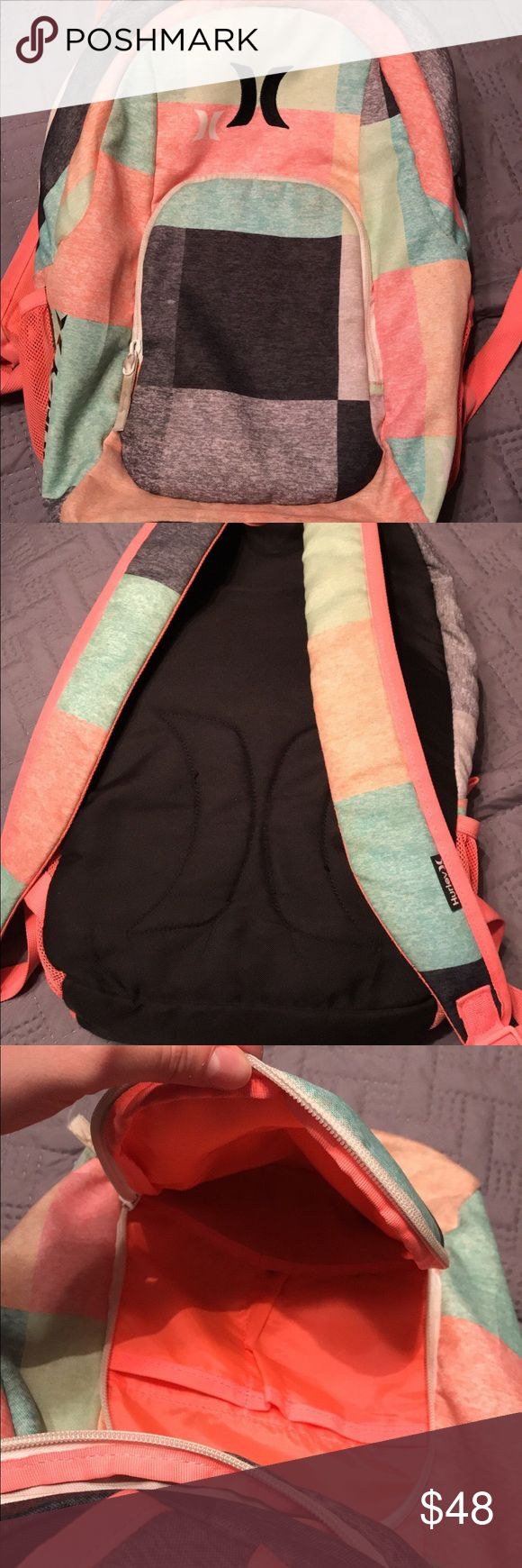 Multicolor Hurley backpack This Hurley backpack is super cute! Spacious with multiple compartments. Colors are eye catching. Great support for anyone looking for a compact bag. Worthy purchase. Minimal sings of use... just a few pencil marks on the inside. Hurley Bags Backpacks