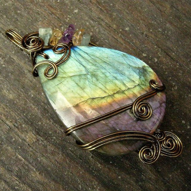 Labradorite Antique Bronze Wire Wrapped Pendant Necklace by Care More, via Flickr