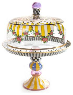 Striped Awning Cake Dome & Stand Set   MacKenzie-Childs eclectic serving utensils