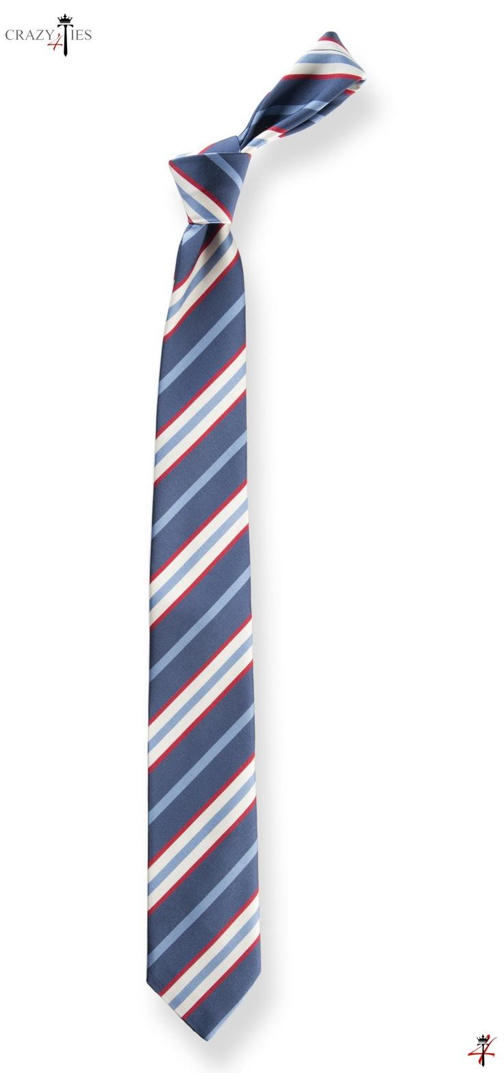 Cravatta in Seta Mogador Blu a Righe Bianche e Rosse - #cravatta #cravatte #ties