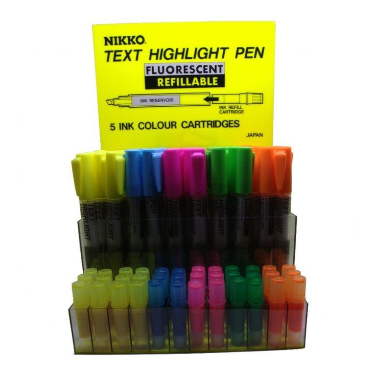 $7 Delivered : 5 Nikko highlighters and 5 refills.   Nikko fluorescent vibrant refillable highlighters have superb ink flow that easily covers text in a single pass.  Available in 5 vibrant colours.  Long storage life as markers are not charged with ink. Before first use, it is necessary to break the cartridge seal and allow 4 minutes for the ink to completely soak through to the tip. Made in Japan.