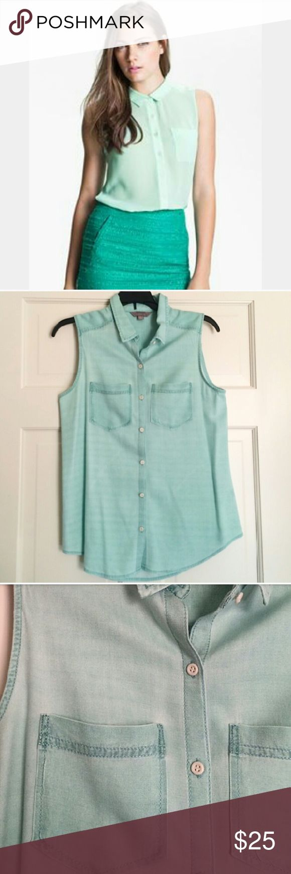 🆕List Nordstrom Rubbish Mint Green Sleeveless Top ✳Nordstrom Rubbish brand ✳Sleeveless Chambray Button Down top ✳Mint Green ✳2 Front Pockets ✳Collared neck ✳Loose fitting ✳Size Small ✳Very soft and comfortable ✳Slight mark on bottom back (last pic) ✳In great condition. Gently worn a few times. ✳Perfect with jeans and chuck taylors for casual vibe or skirt and heels for a night out!  Stock photo for styling purposes only. Not same top.  ☑OFFERS WELCOME☑ ☑BUNDLE and SAVE☑ Rubbish Tops Button…