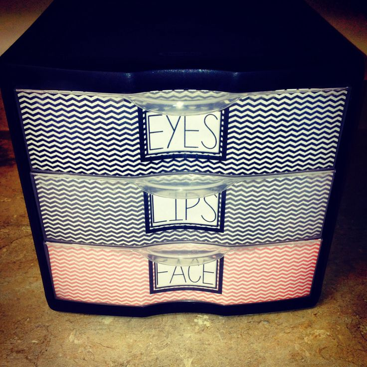 Makeup storage; buy cheap, plastic storage, and add cute labels. #organization