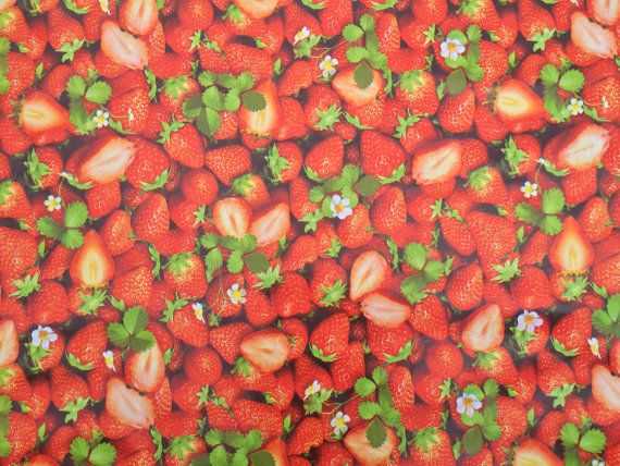 Red Strawberries vinyl oilcloth fabric PVC Vinyl Cafe Bar Table Wipe clean table protector picnic cloth outdoor fabrics - PER METRE