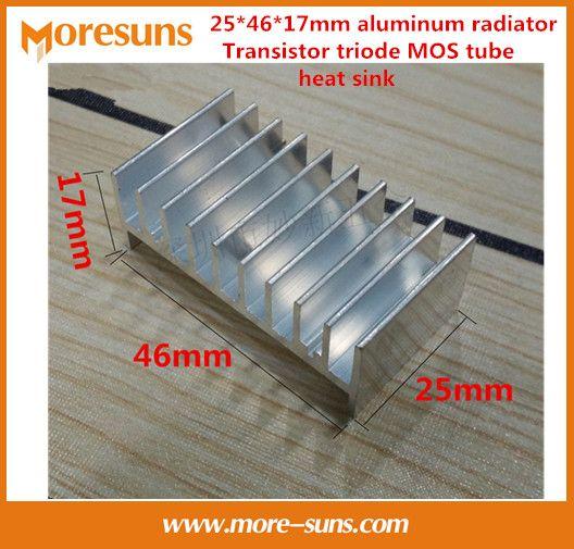 Fast Free Ship 20pcs Electronic radiator 25*46*17mm aluminum radiator Transistor triode MOS tube heat sink