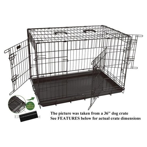 """EliteField 42"""" 3-Door Folding Dog Crate with DIVIDER and RUBBER FEET, 42"""" Long x 28"""" Wide x 30"""" High"""