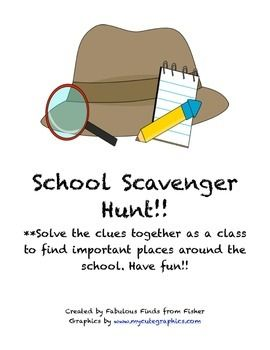 Help your students become more comfortable finding their way around school.  This scavenger hunt includes clues in the form of riddles to different places around the school.  Use the clues you need and have fun.  A great community building project and helpful for primary students and students who are new to the school. Places included in the clues to visit: Main Office Nurse's Room Cafeteria Library Computer Room Art Room Music Room Gymnasium or P.E. area Playground/recess area