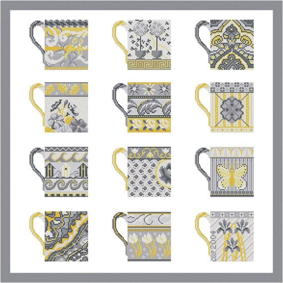 Cross stitch pattern GREY CUPS  yellowgrey wall by anetteeriksson